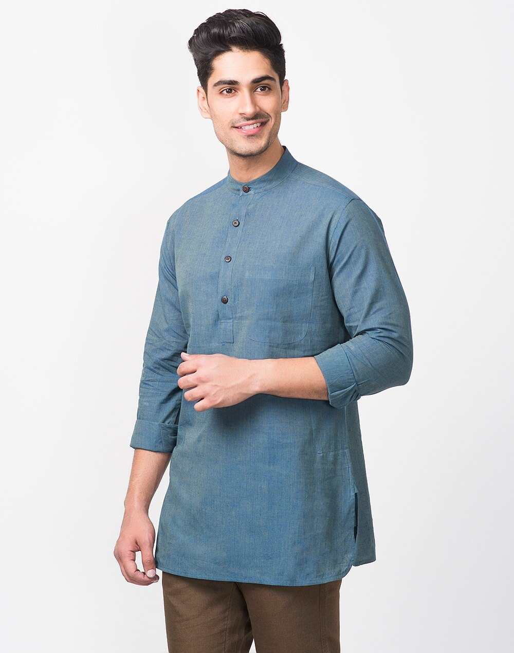 7e7b61ff4 Buy Fabindia Blue Cotton Chinese Collar Short Kurta Online in India ...