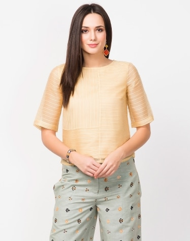 e92e5bc62300b7 Buy Fabindia Yellow Cotton Mull Emboridered Crop Top Online in India ...