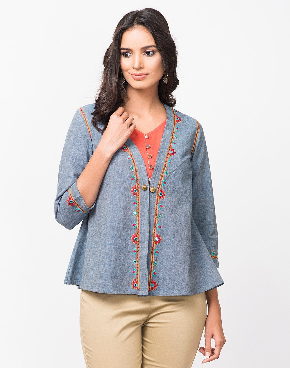 8325f102996 Buy Fabindia Blue Cotton Textured Front Open Shrug Online in India ...
