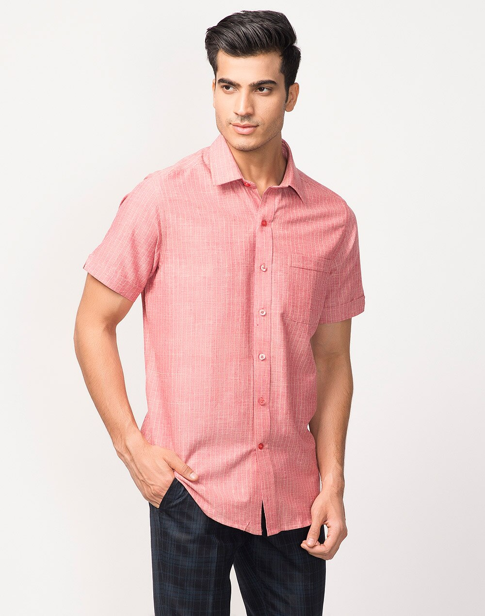 ce420092 Buy Fabindia Red Cotton Bana Striped Shirt Online in India ...