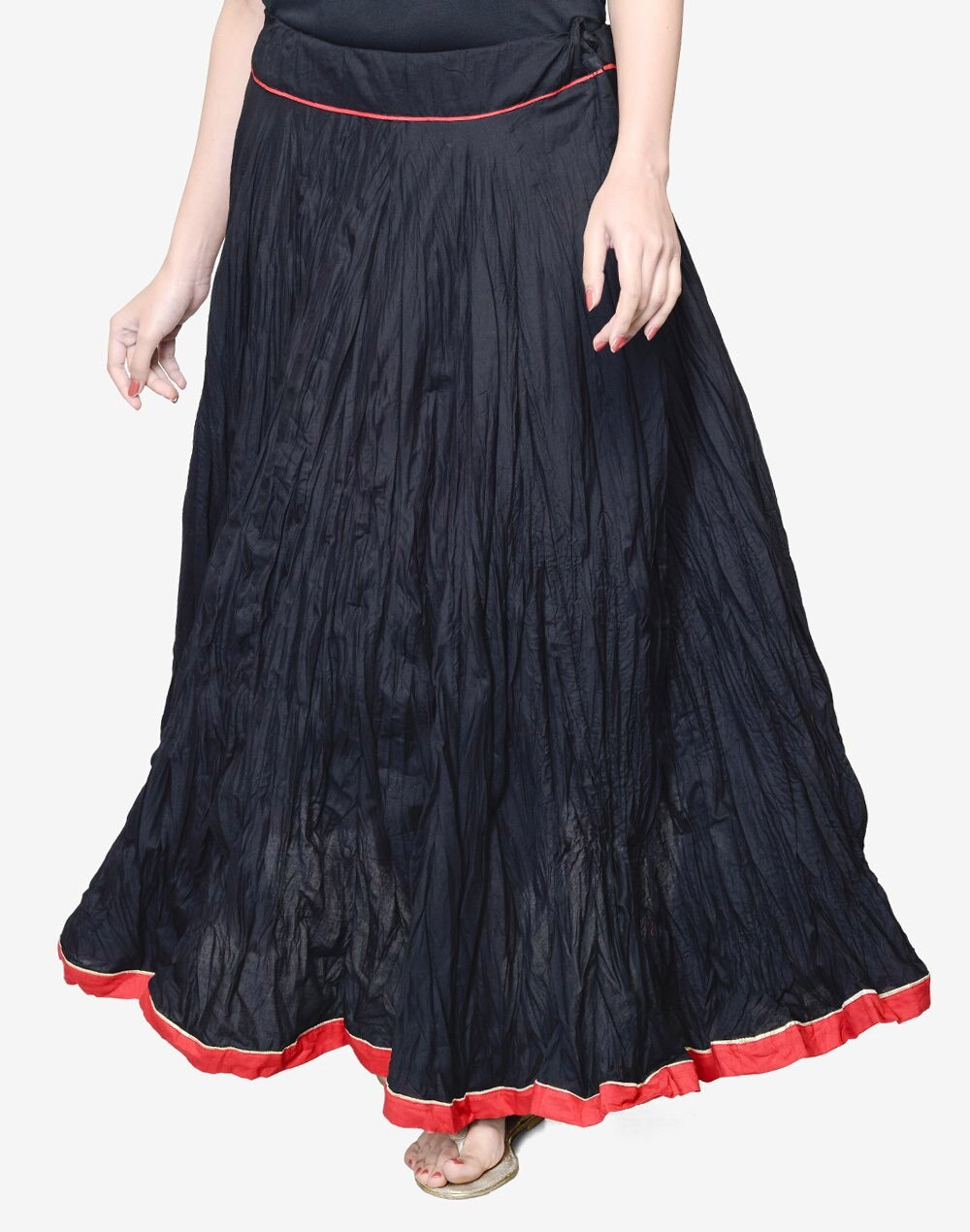 0611bfb40f Black Cotton Mull Crinkle Contrast Trim Long Skirt. FabIndia Product Details