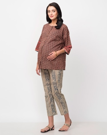 830fdc408e Buy Fabindia Brown Cotton Printed 3 Quarter Sleeves Top Online in ...